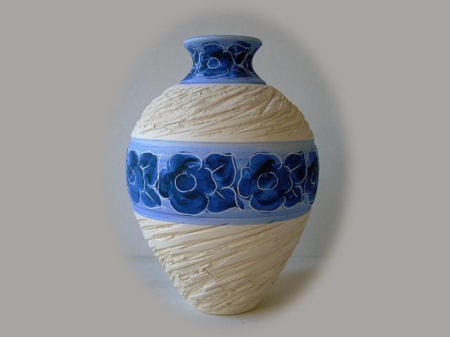 Floreros De Cer Mica En Color Azul Y Blanco Jarrones