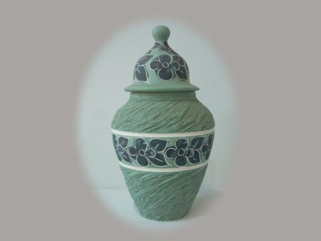 Floreros de cer mica en color verde jarrones pintados a mano - Colores de ceramica ...