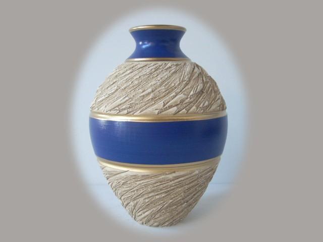 Jarroness de cer mica en color beige y azul - Colores de ceramica ...