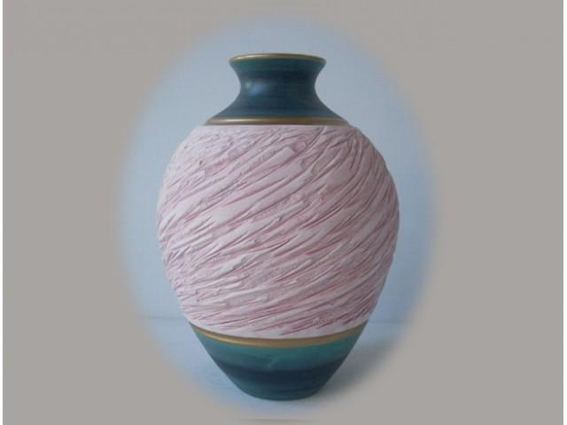 Floreros y jarrones de cer mica en color verde oxido y rosa - Colores de ceramica ...