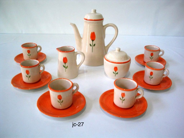 Vajillas de cer mica pintadas a mano vajilla tulip n naranja for Vajilla ceramica